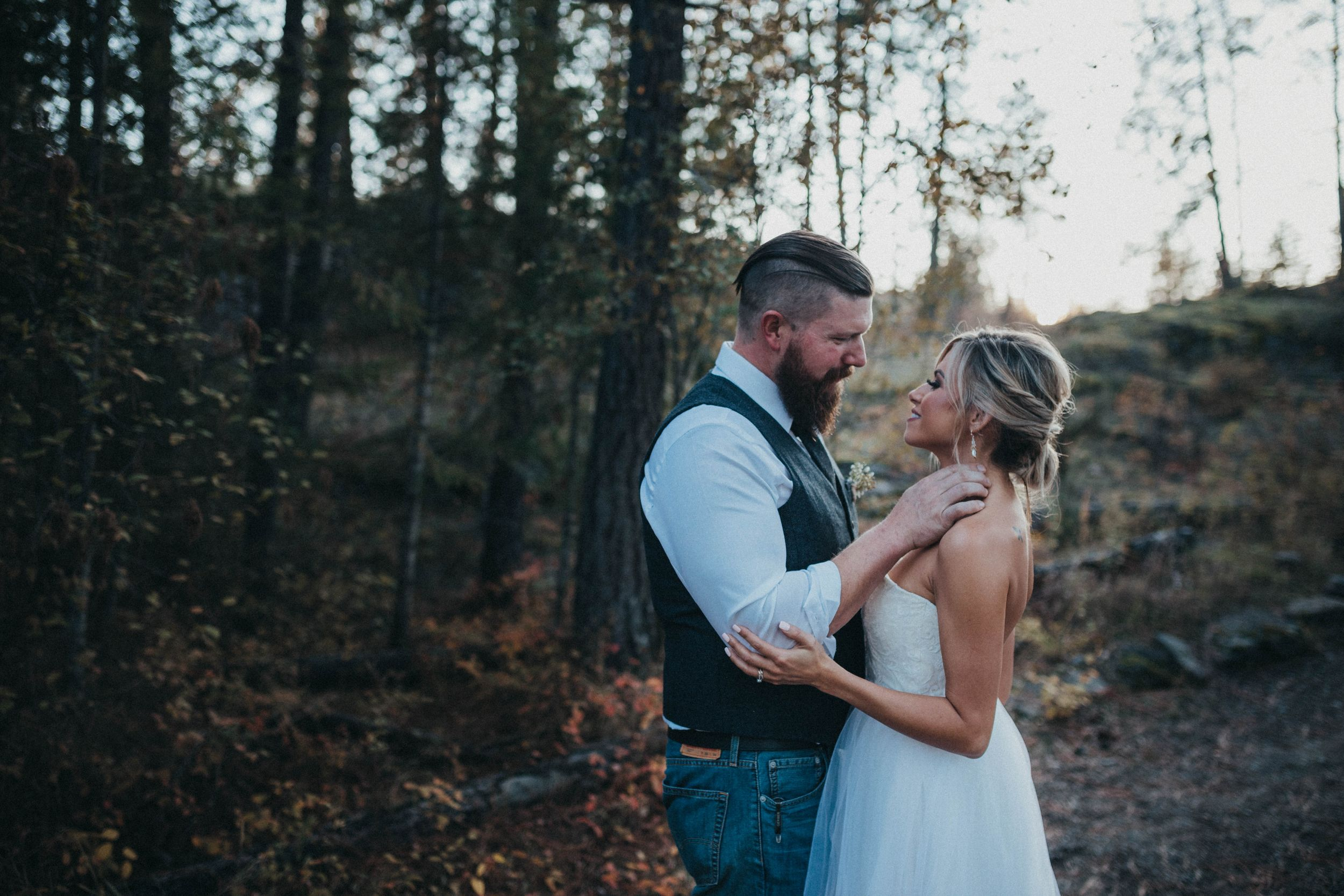 Outdoors woodsy wedding portrait post falls ID Soulful hues photography