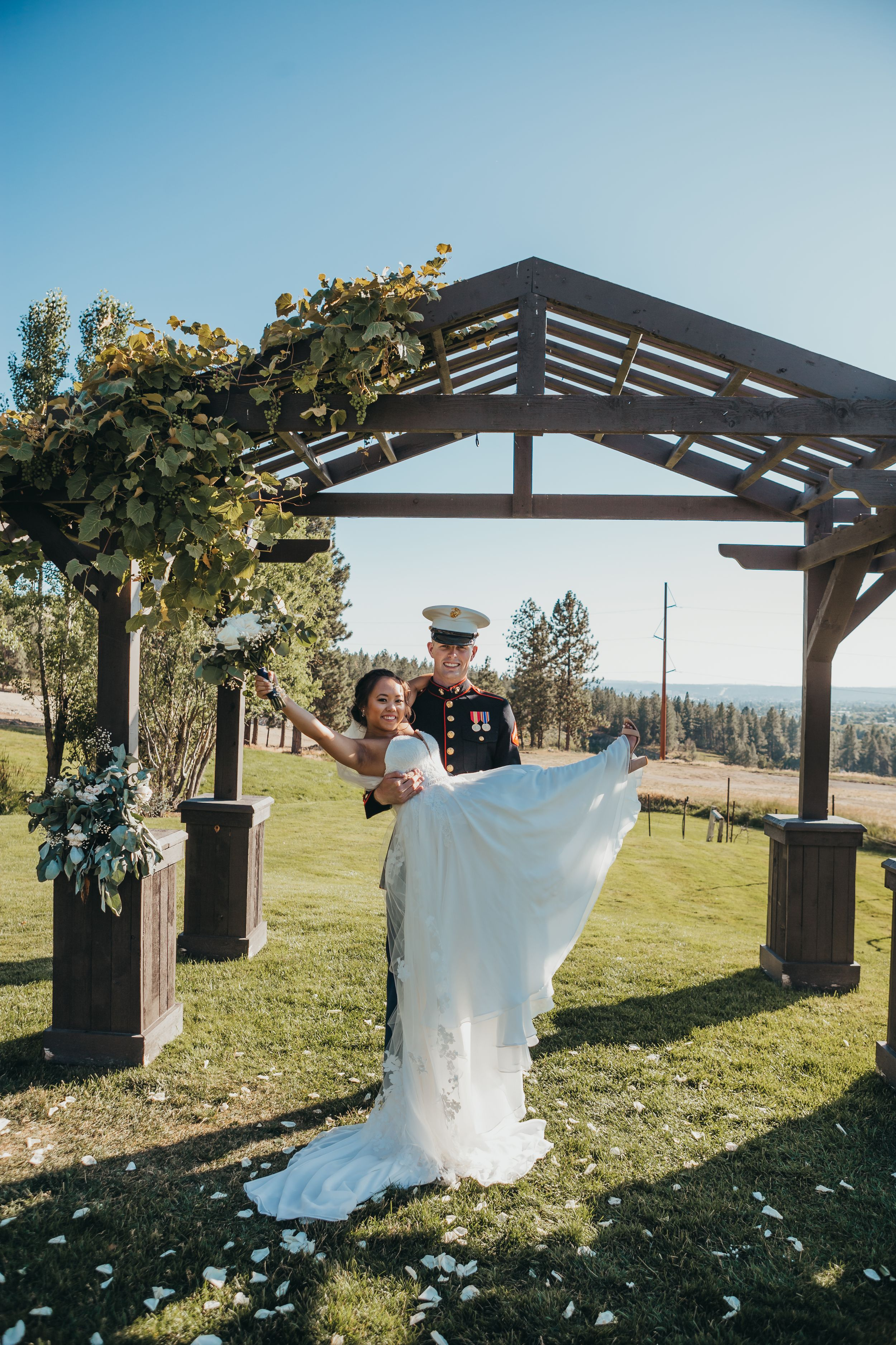 Beacon hill events wedding arch bride and groom Soulful hues photography