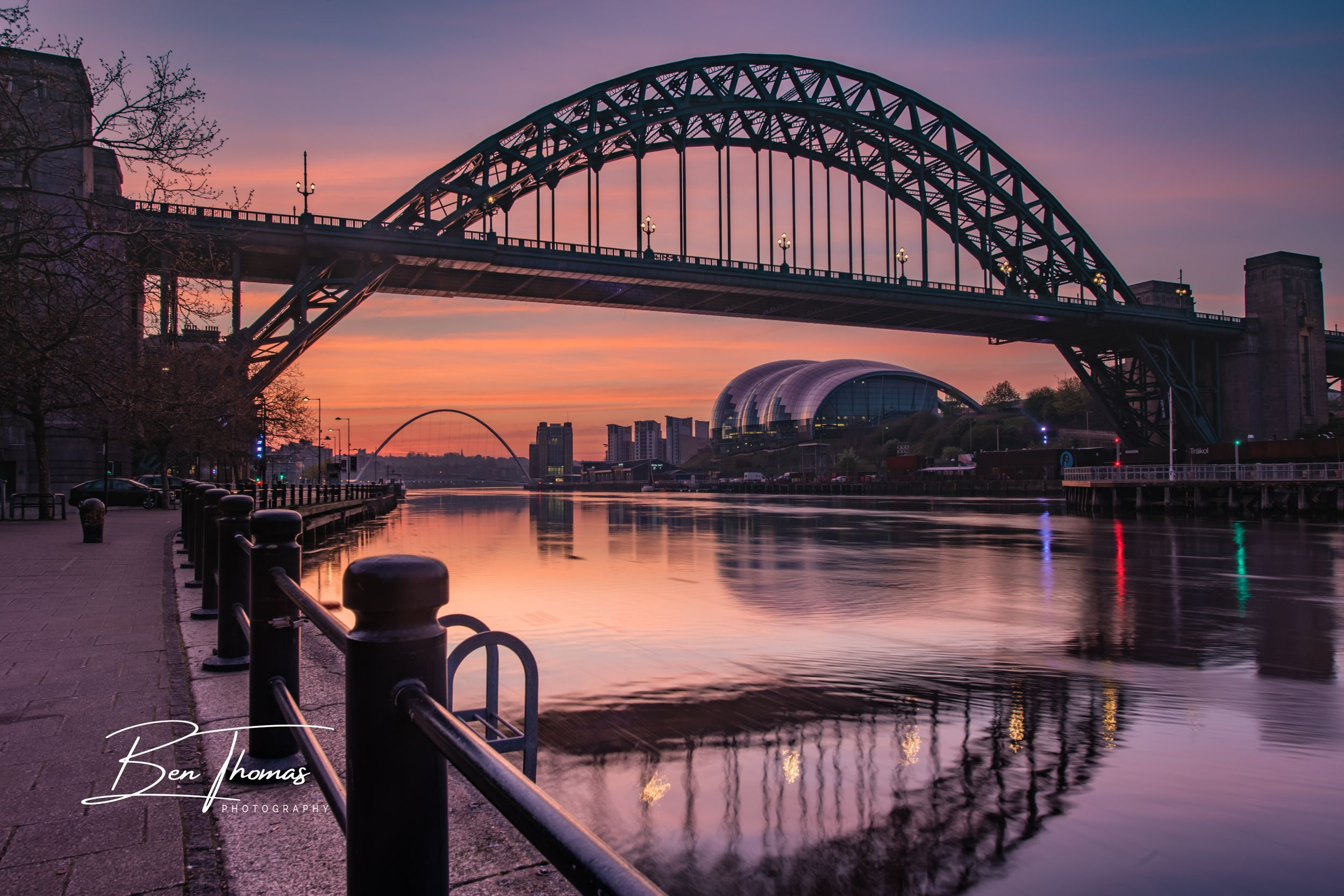 Quayside River Tyne Bridge Sunrise