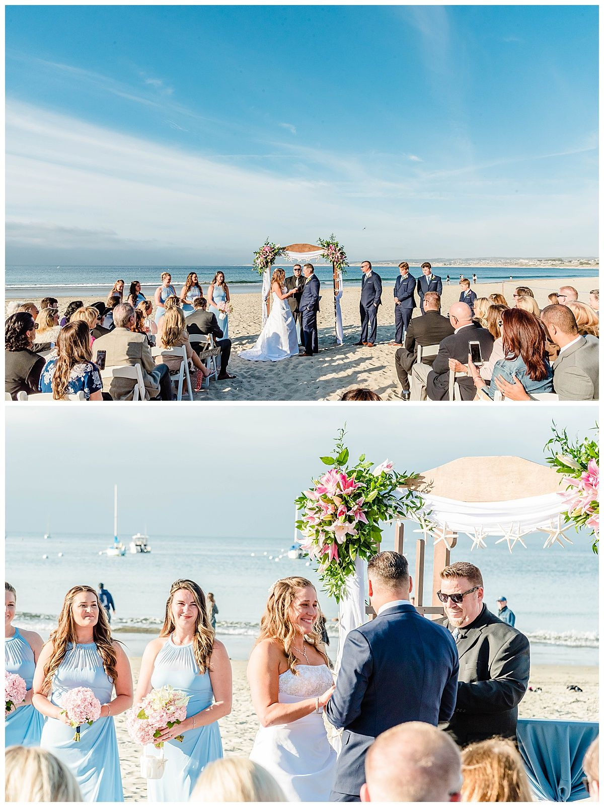 monterey california beach house destination wedding ceremony