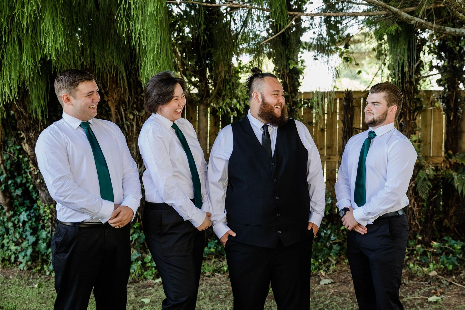 Groom and groomsmen in Rotorua Home