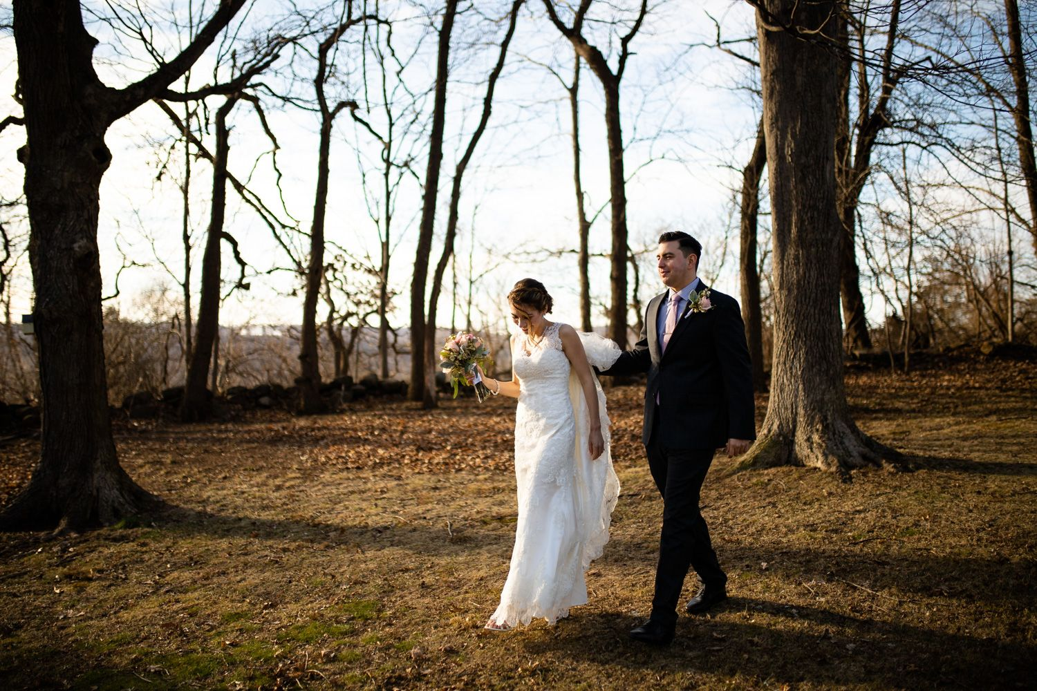Connecticut winter wedding bride and groom walking