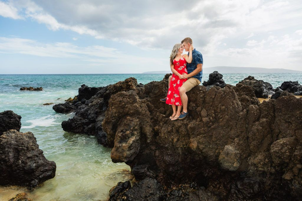 lava rocks over the ocean for this engagement