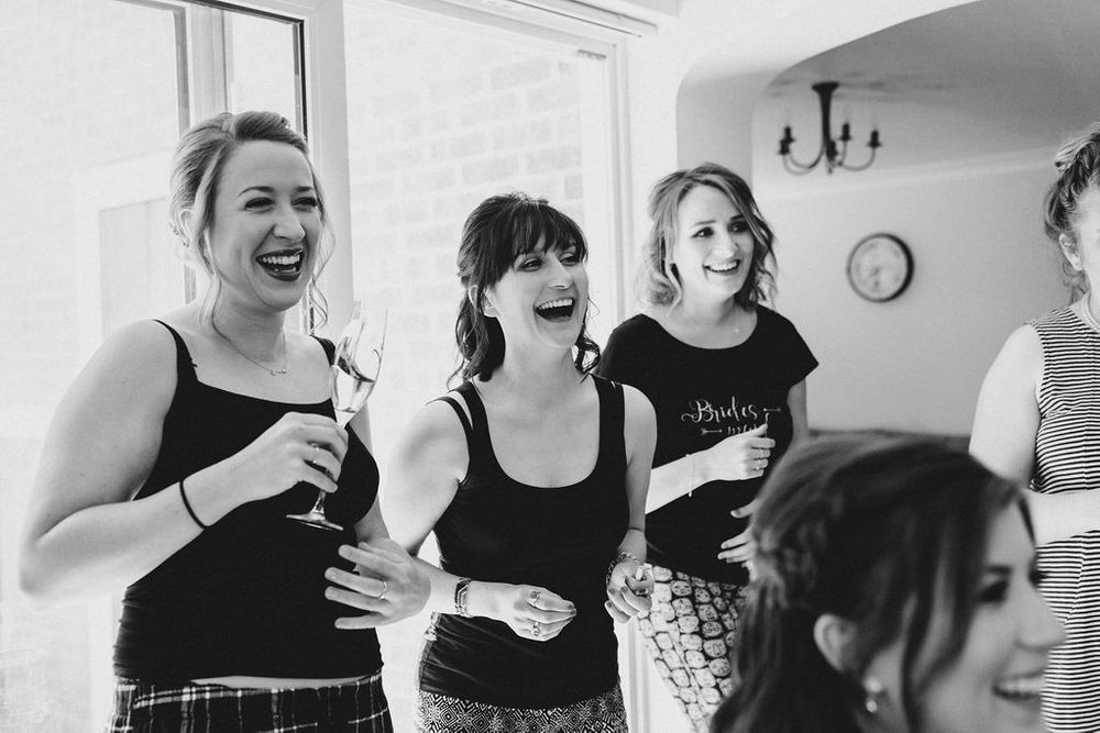 candid bride prep photos