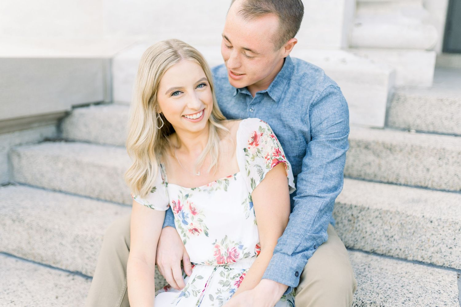 Light and airy film wedding photography engagement session in downtown des moines iowa with Nicole Laing