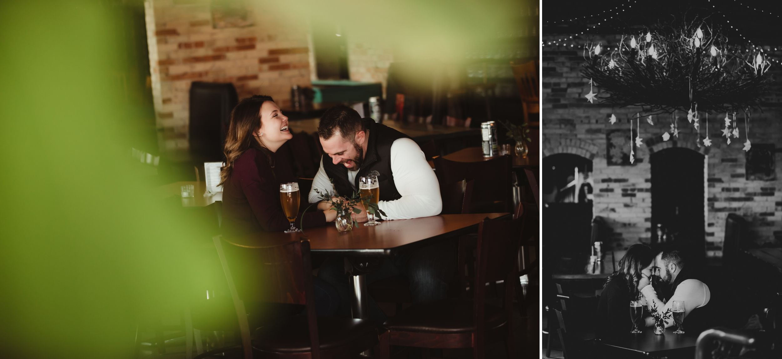 Man and woman laughing together at a brewery table.