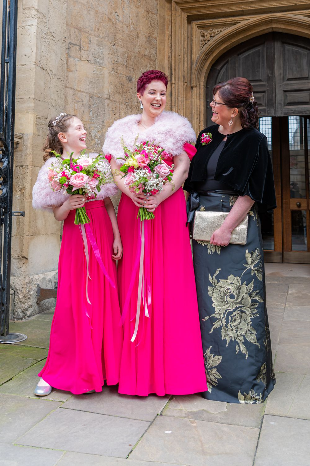 brides maids and mum, Wedding at The University Church of St Mary the Virgin