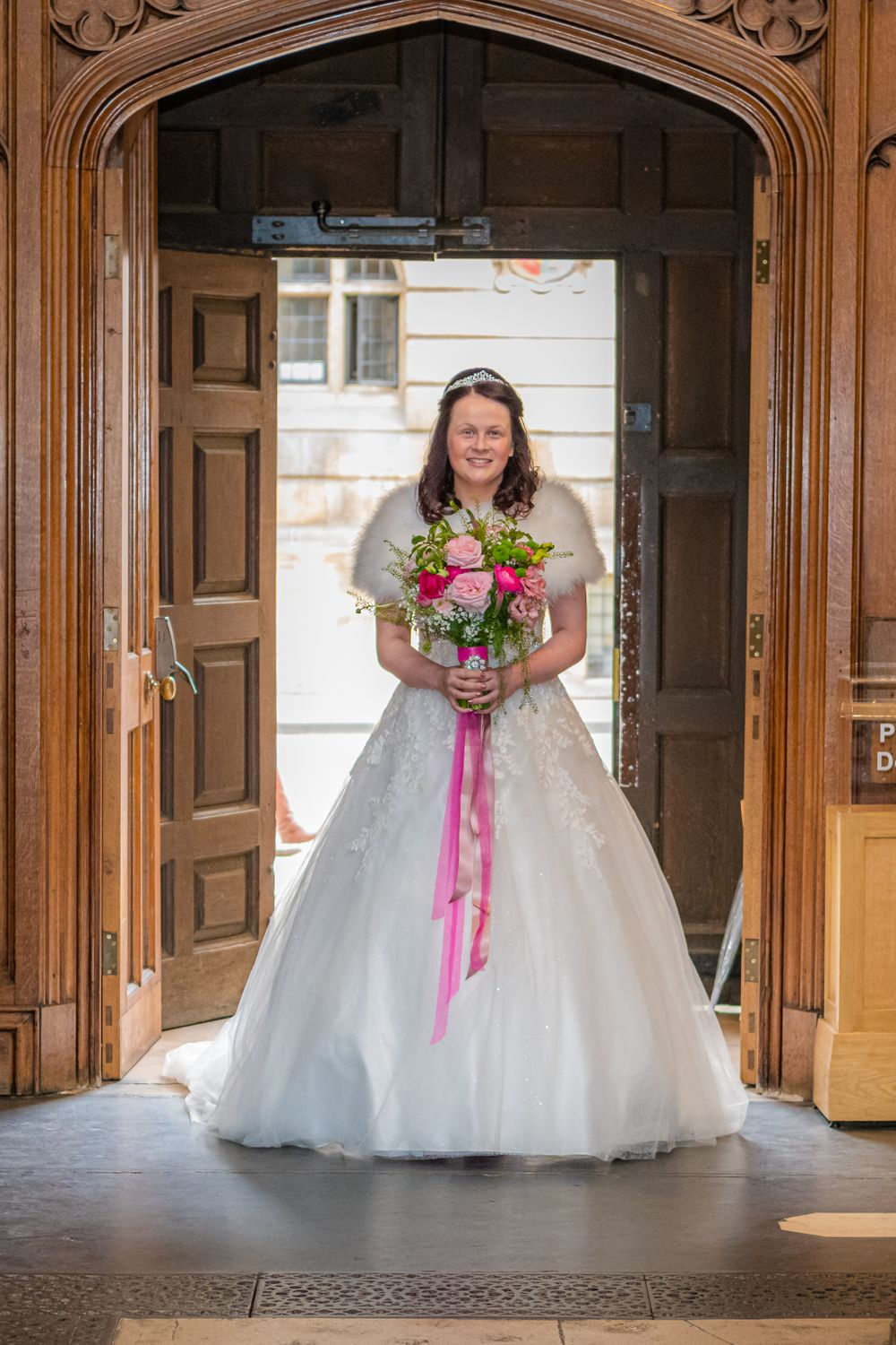 Bride entering The University Church of St Mary the Virgin Wedding