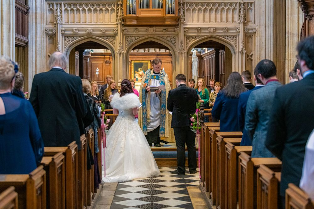 bride and groom at The University Church of St Mary the Virgin Wedding