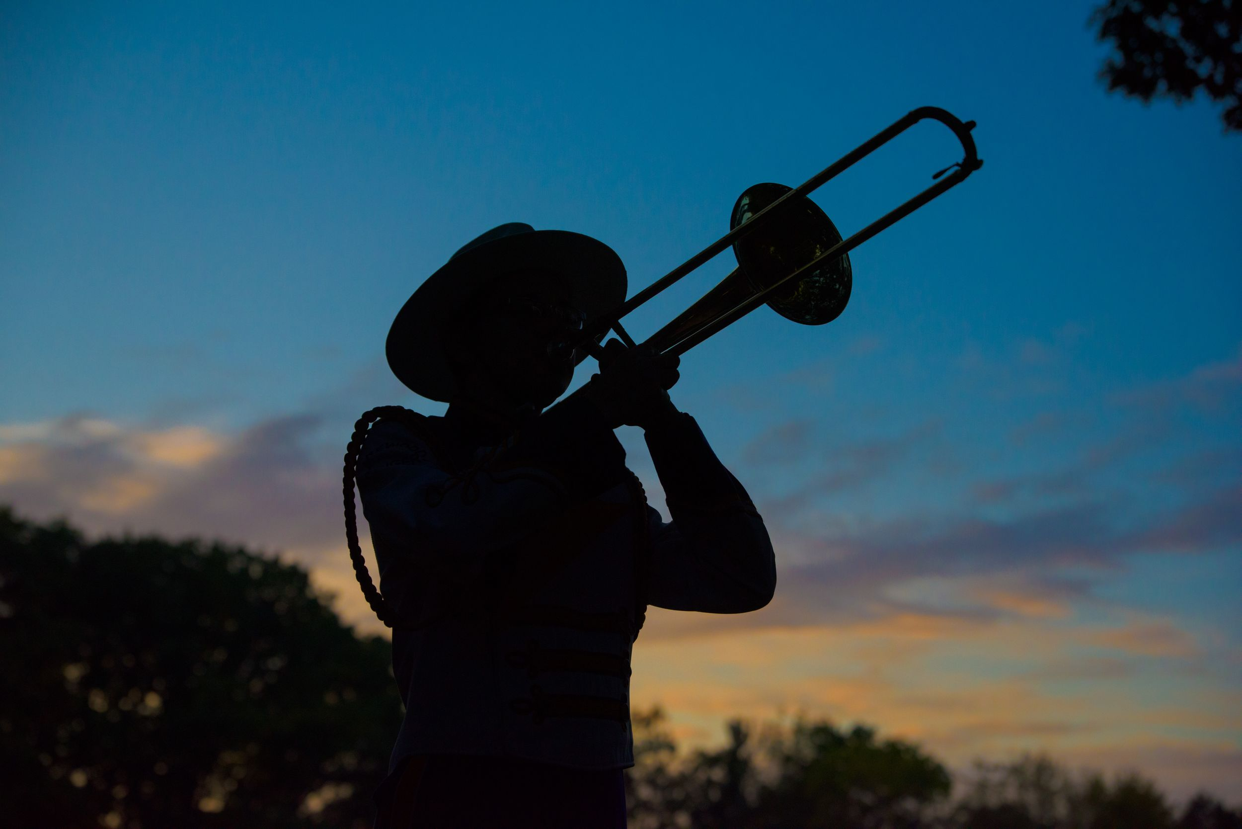 senior portrait, marching band trombone player in sunset , Lakewood High School Marching Rangers, Lakewood Ohio