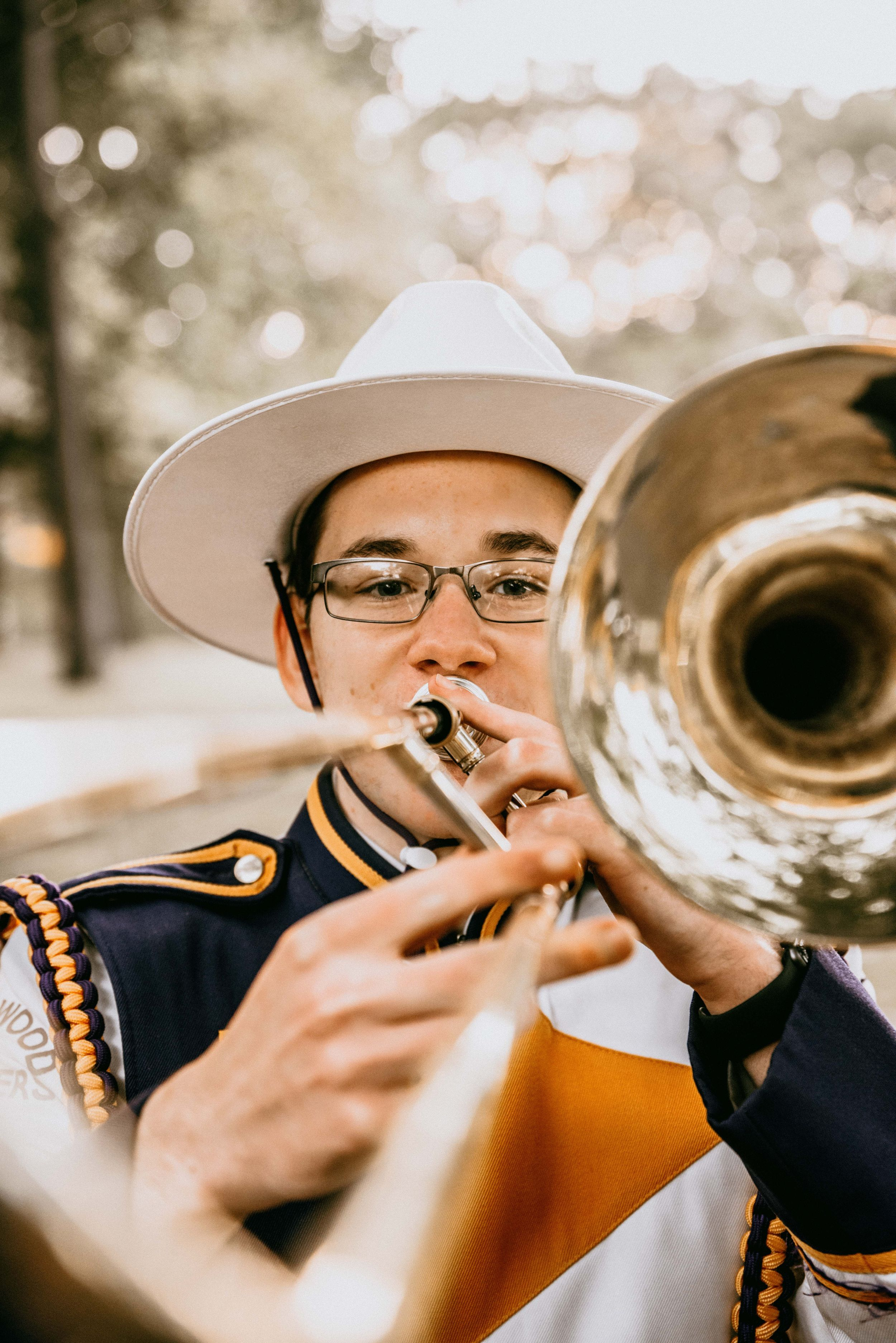 senior portrait, marching band trombone player , Lakewood High School Marching Rangers, Lakewood Ohio