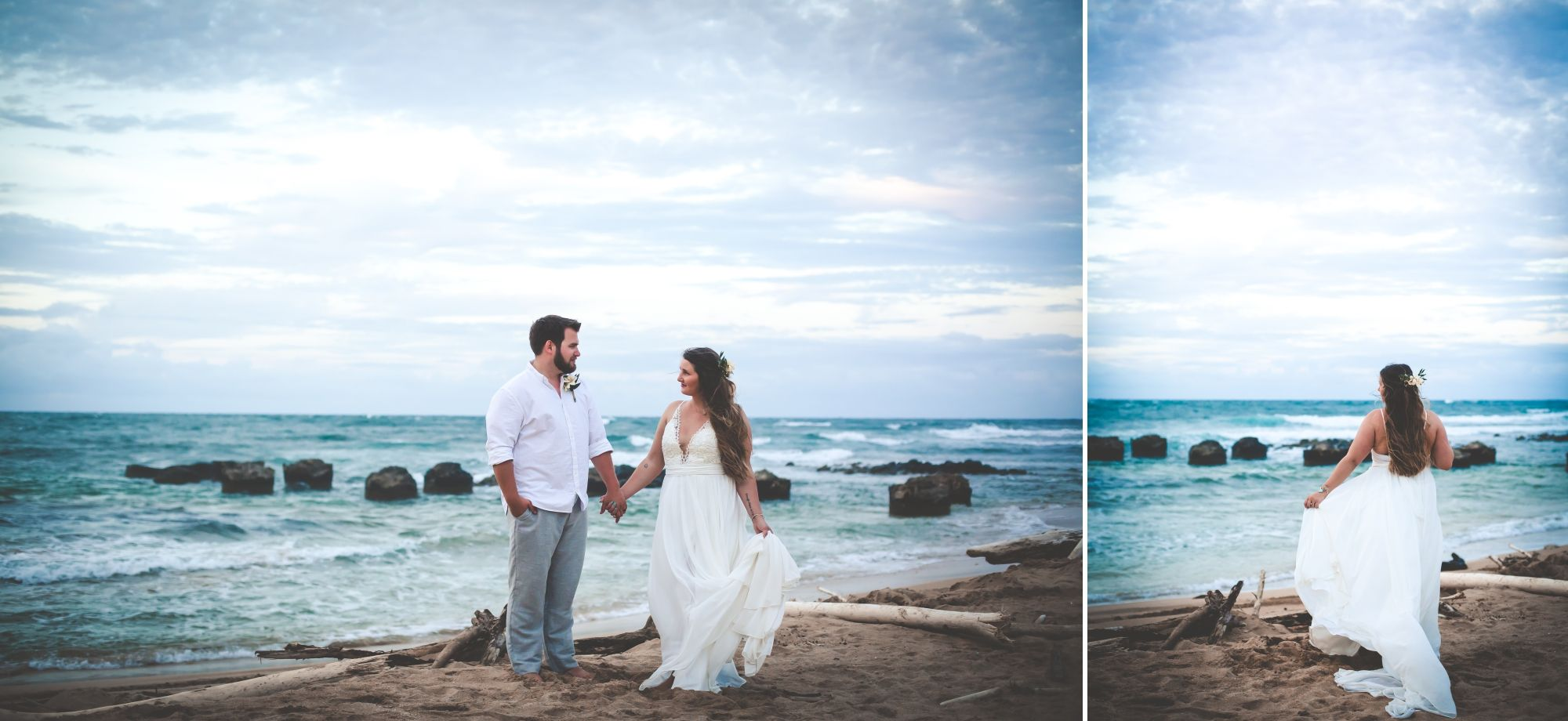 Photo of bride and groom holding hands with bride holding the side of her dress in front of the ocean.
