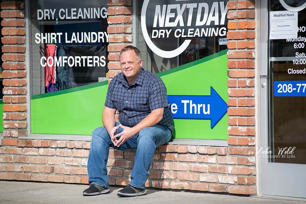 Save local businesses nextday dry cleaning owner featured by Post Falls photographer Luba Wold