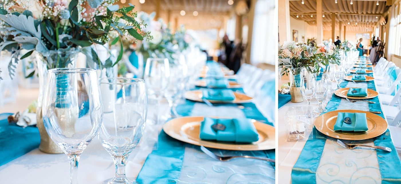 monterey beach house California destination wedding reception tables