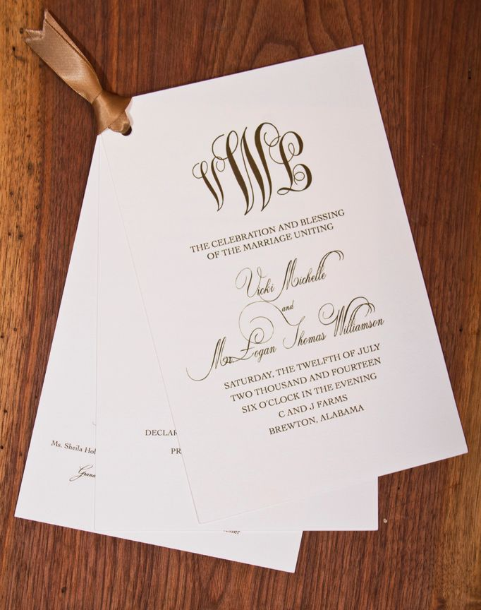 Monogrammed Wedding Programs