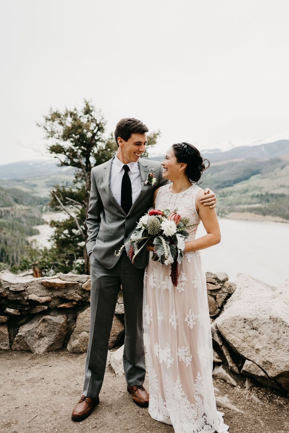 Portrait of Couple Mountain Wedding Breckenridge, Colorado