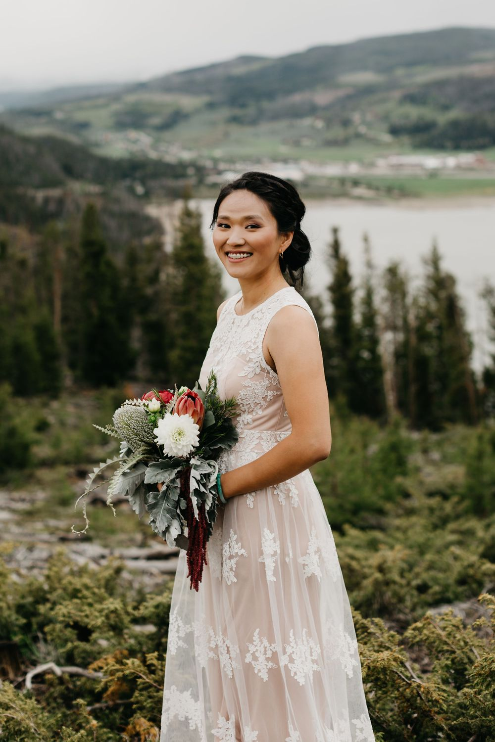 Portrait of boho bride in Breckenridge, Colorado Elopement