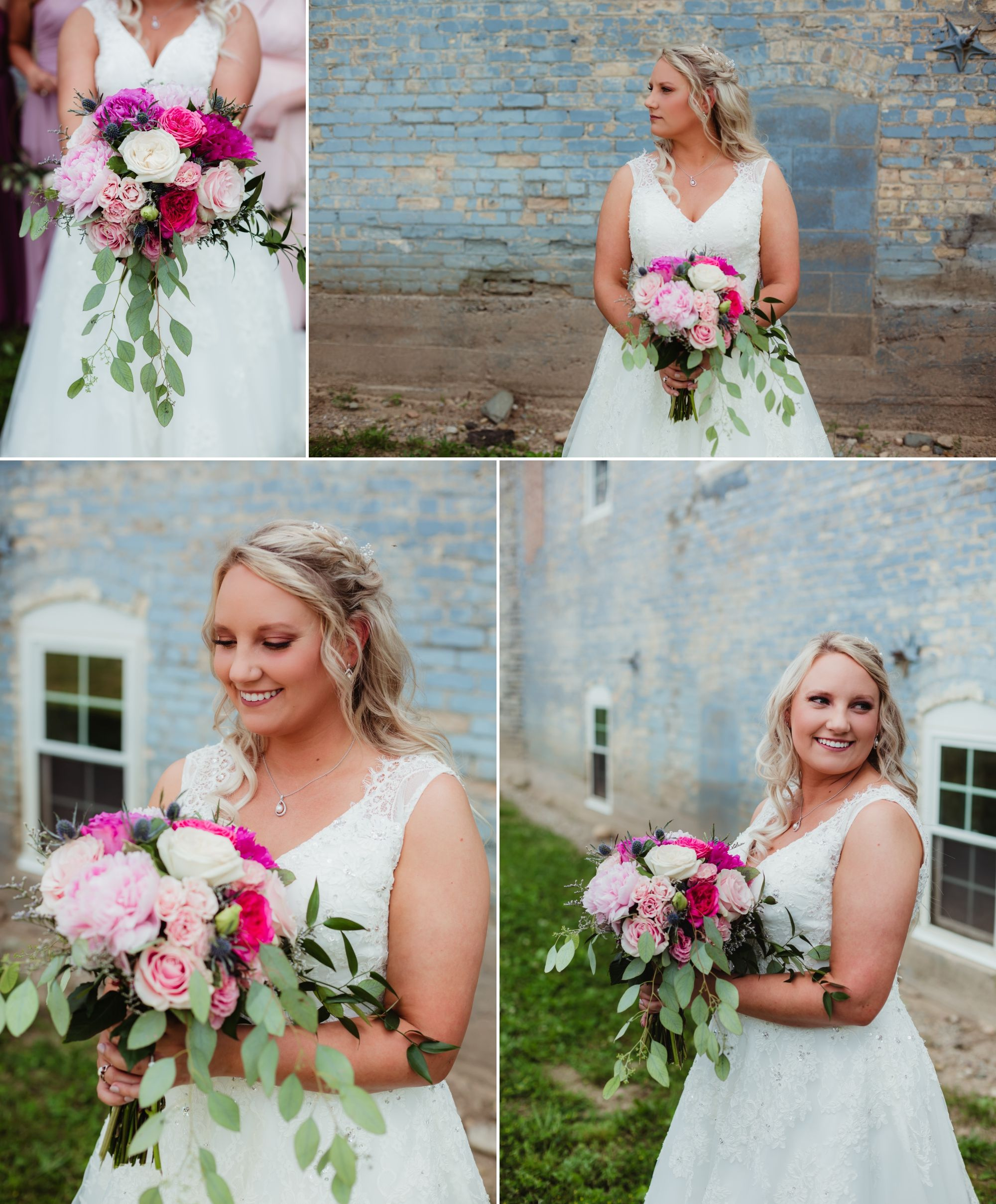 Collage of bride standing outside in front of a blue brick building. Her bouquet is bright pinks.