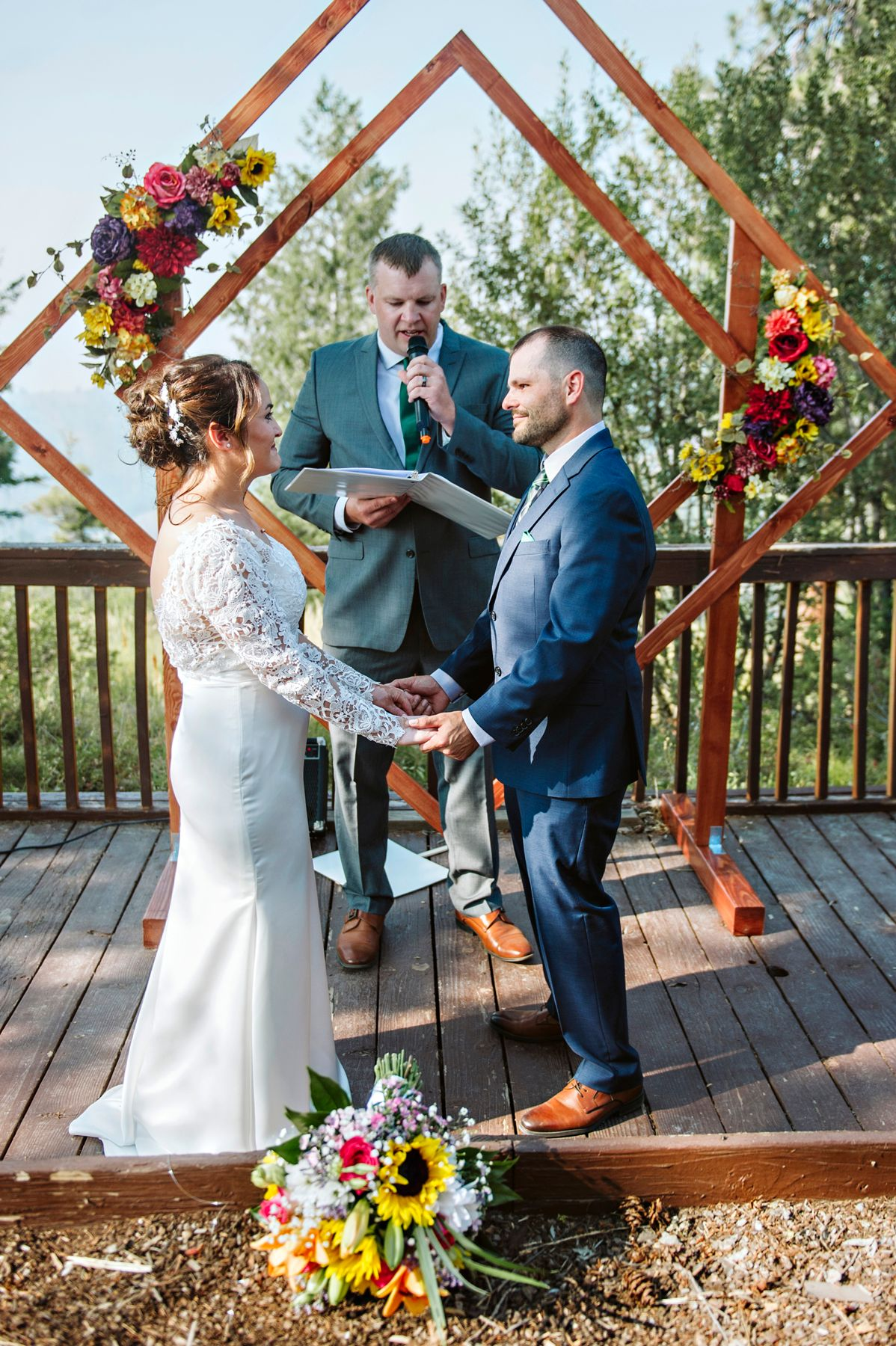 Bride and groom share vows on top of Bogus Basin