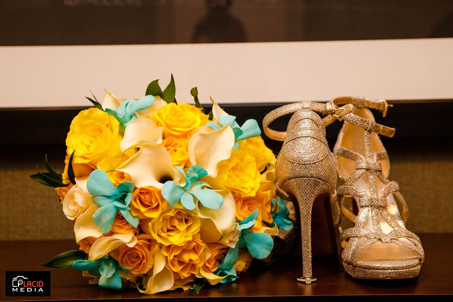 flower with shoe bride on her wedding day picture