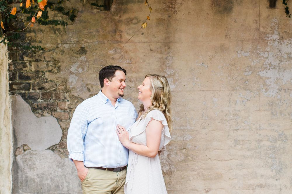 engagement session in monterey square in downtown savannah, ga