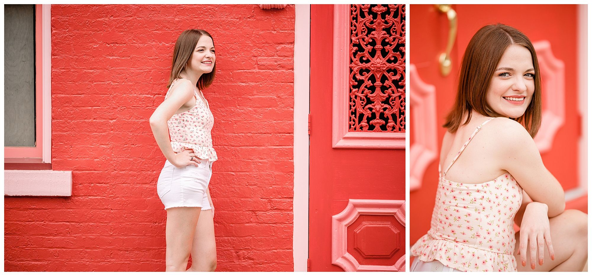 Bright pink building with Lisbon Ohio Senior girl during senior portrait photos