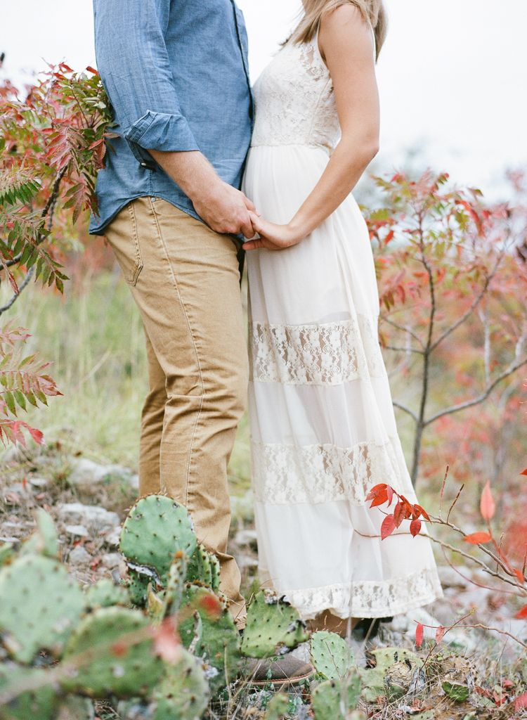 Oklahoma wedding photographer engagements Aaron Snow Photography Turner Falls Davis couple holding hands film cactus