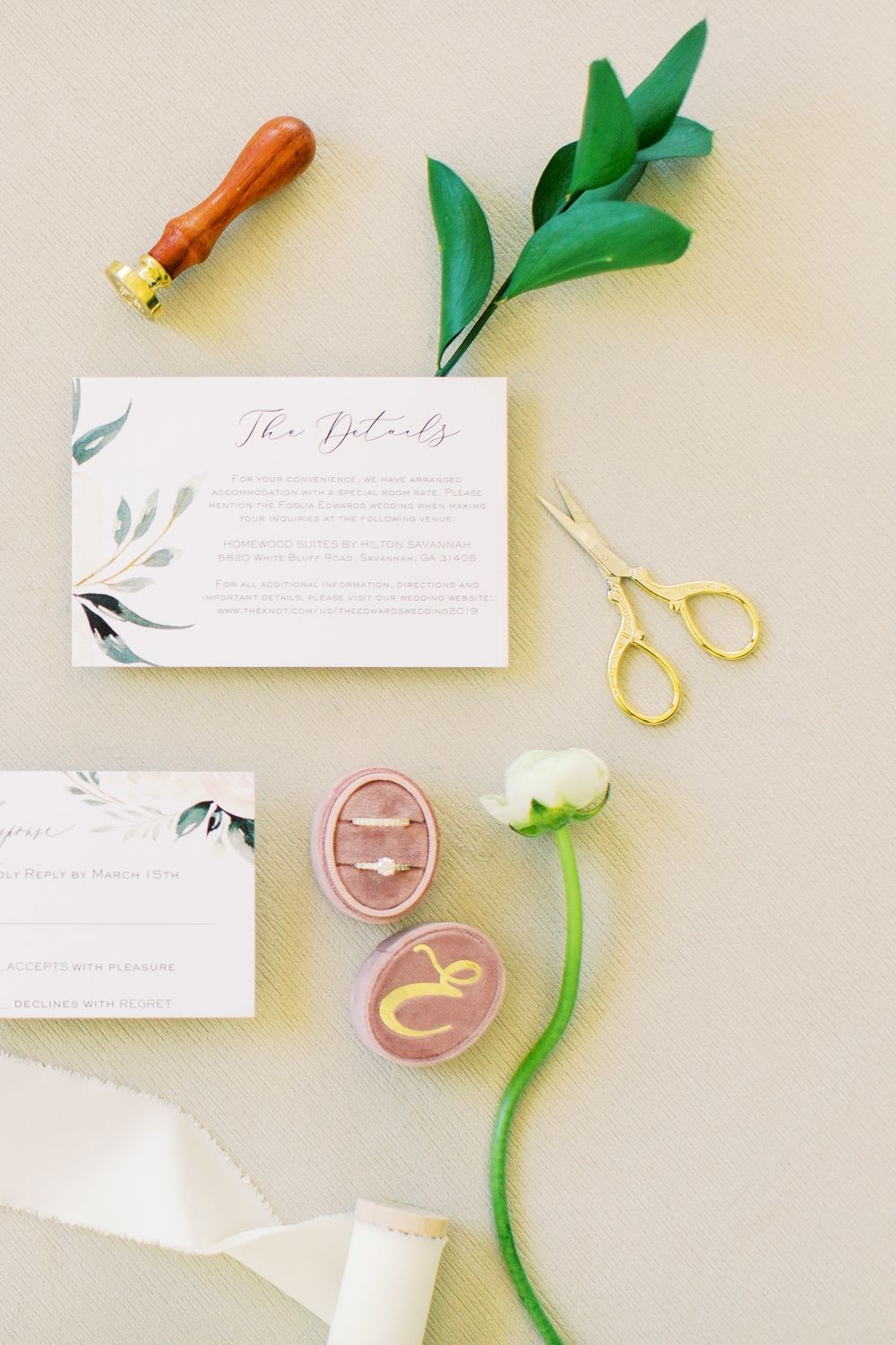 styled wedding invitation details from a savannah, ga wedding at the landing's plantation club