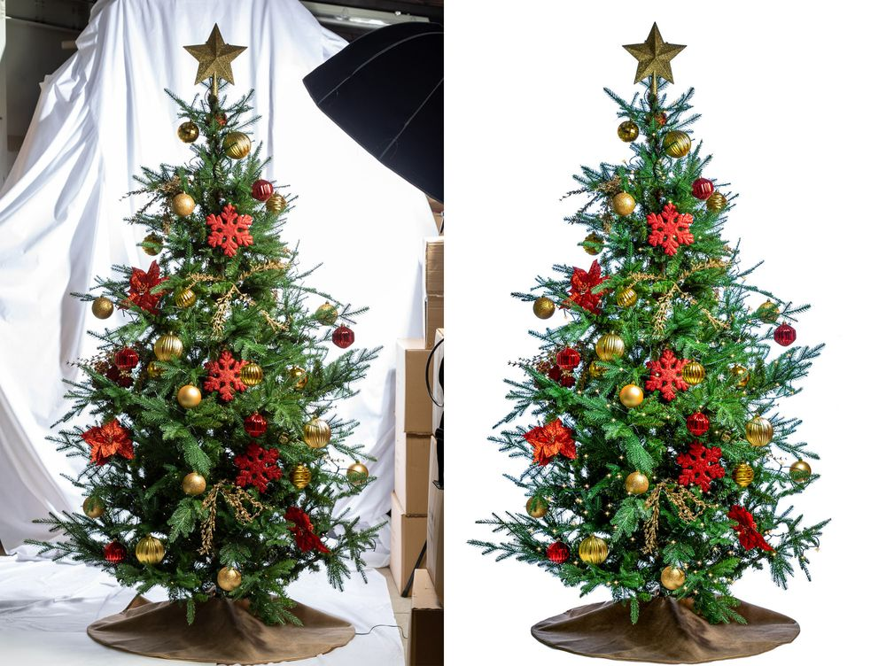 A before and after comparison of a product photograph of a full size Christmas tree by Danny Loo