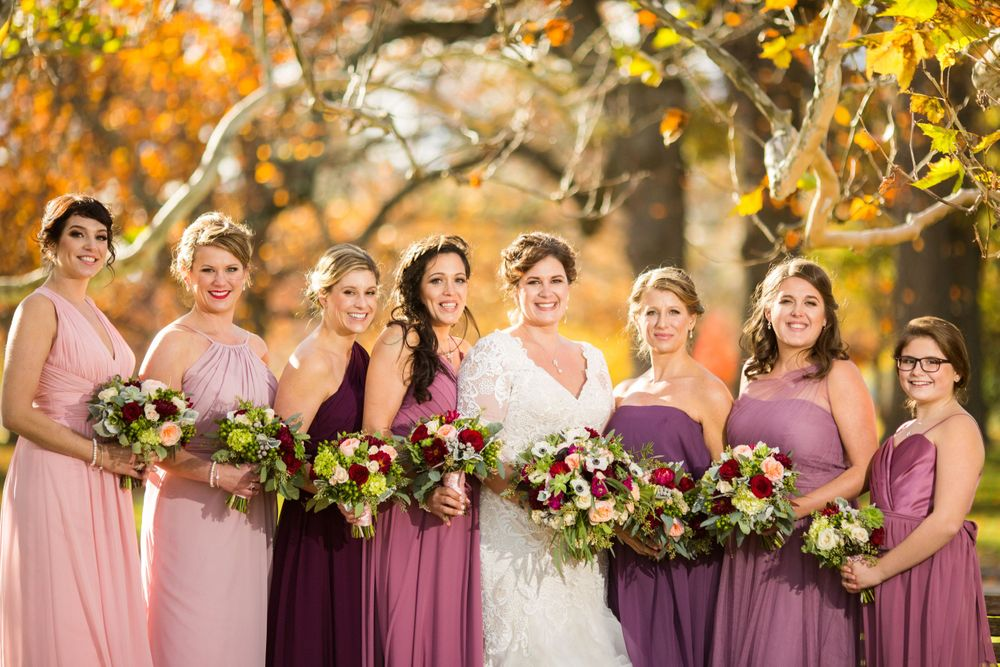 The bride and bridesmaids on a fall wedding day in providence rhode island
