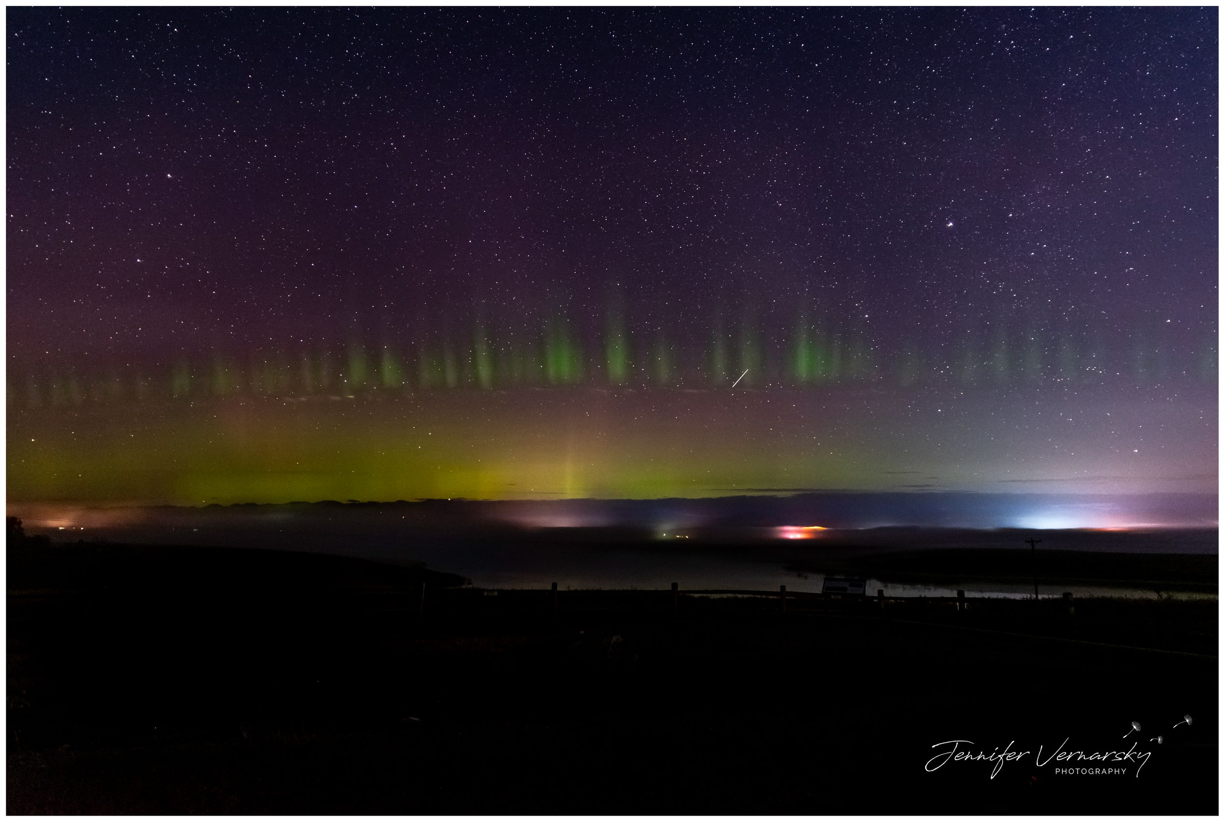 Northern lights from Kalispell, Montana with pillars and picketing of colors.