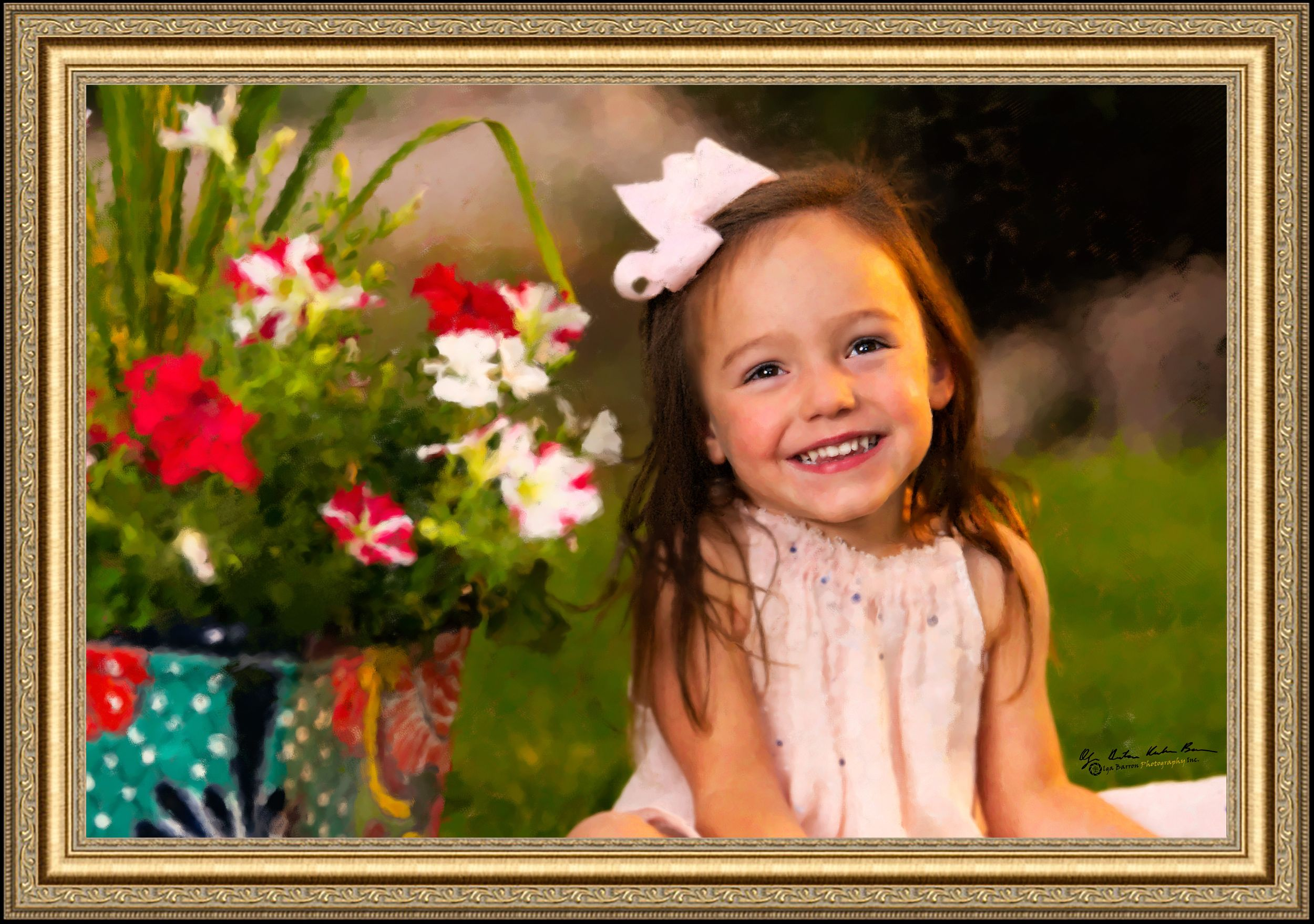 Painterly framed portrait of a little girl with flowers sitting on a lawn