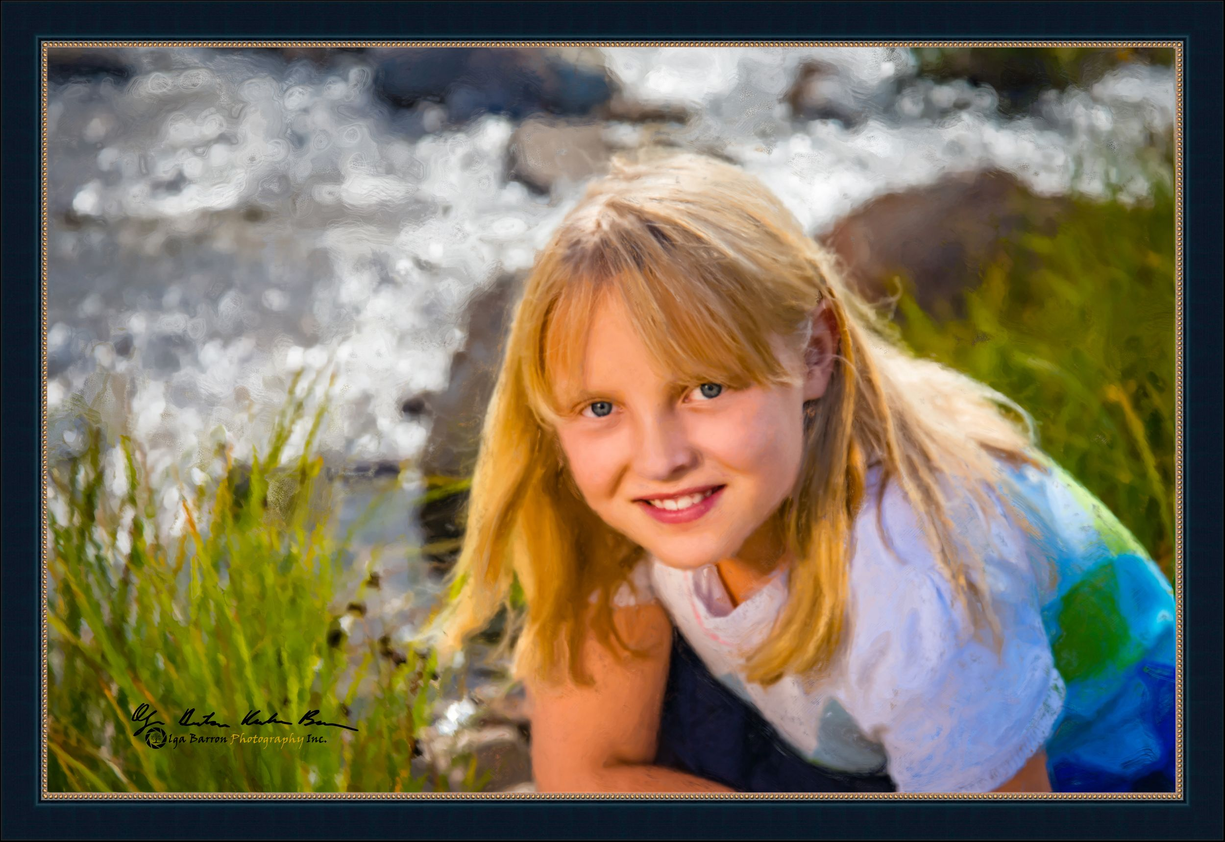 Framed painterly portrait of a young girl by a mountain river in the fall