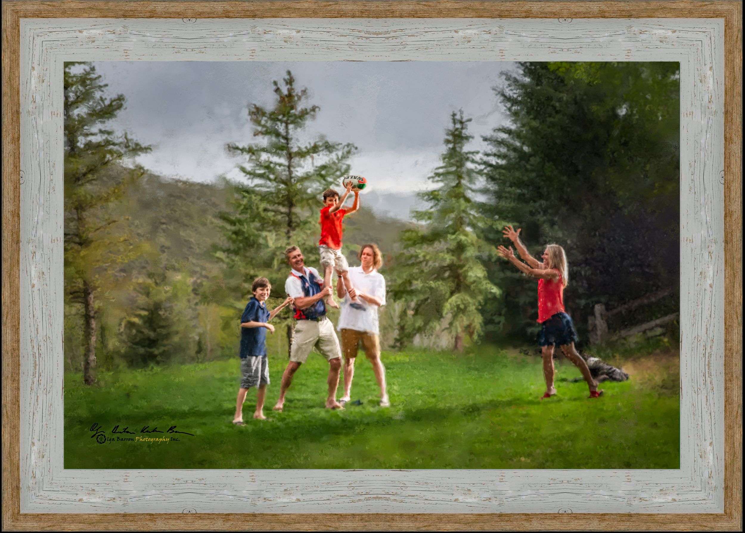 Framed painterly portrait of a family playing rugby
