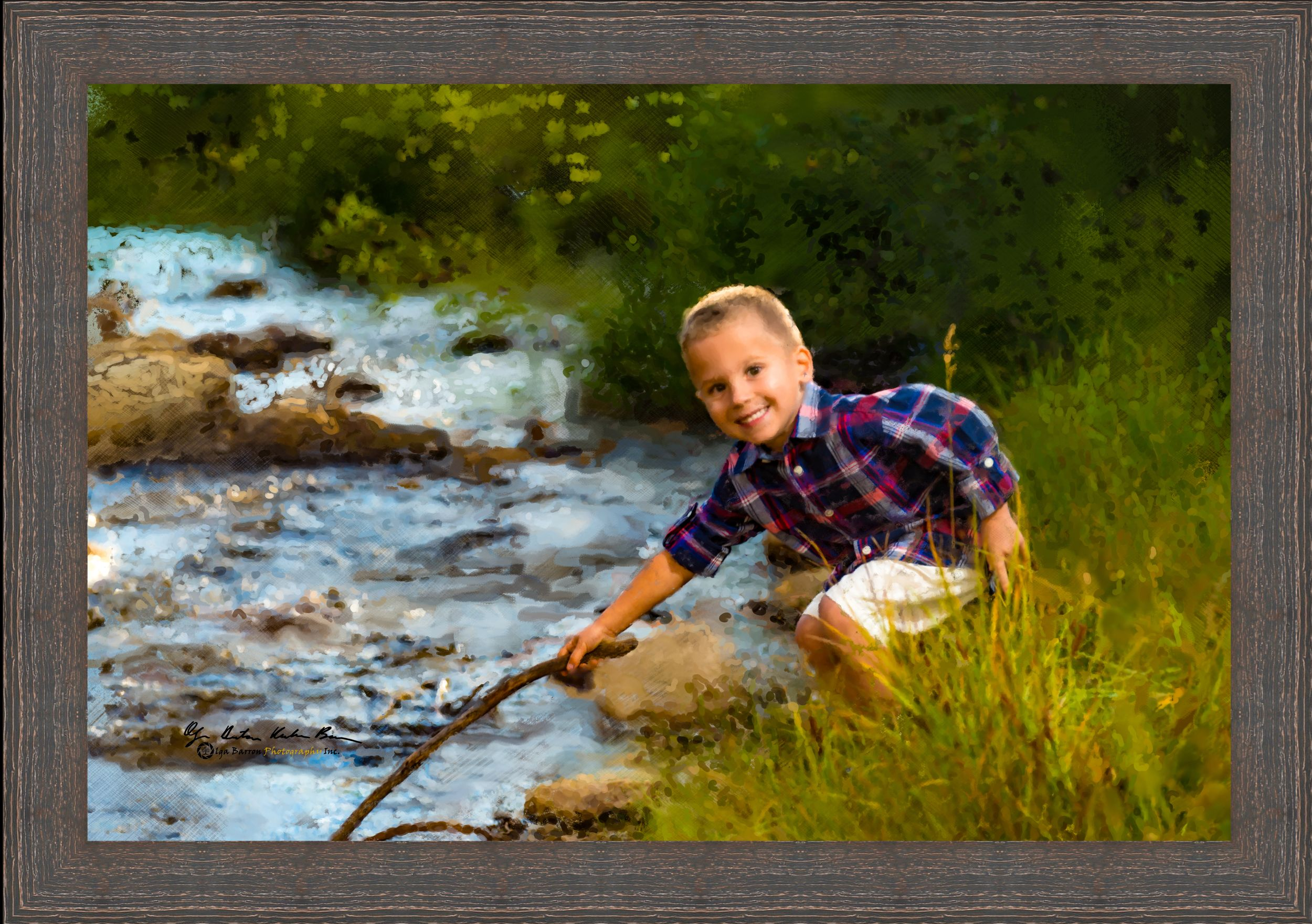 Framed painterly portrait of a boy with stick by a river