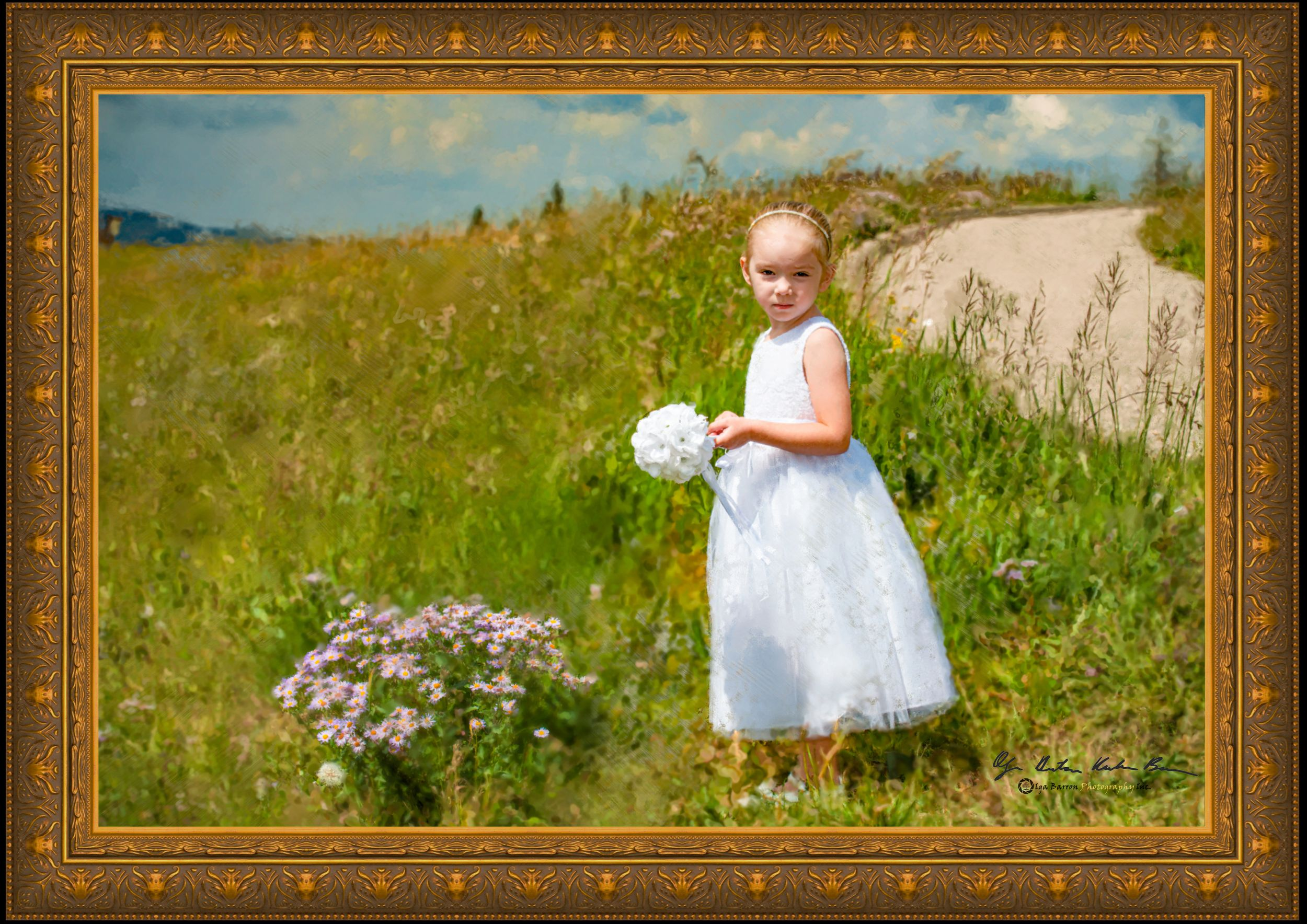 Framed painterly portrait of little girl in white at top of Vail Mountain