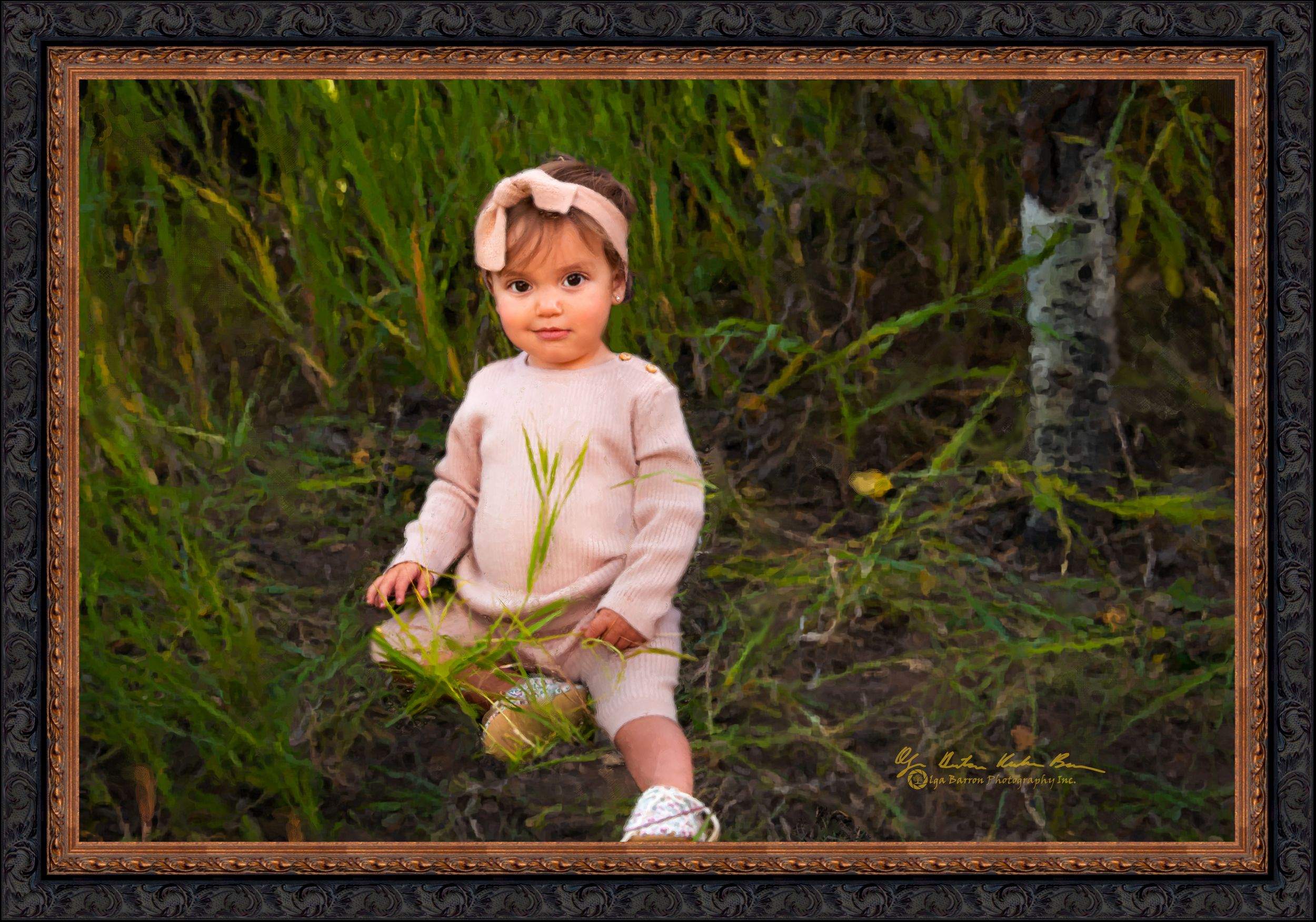 Framed painterly portrait of a little girl in pink in the grass in the fall