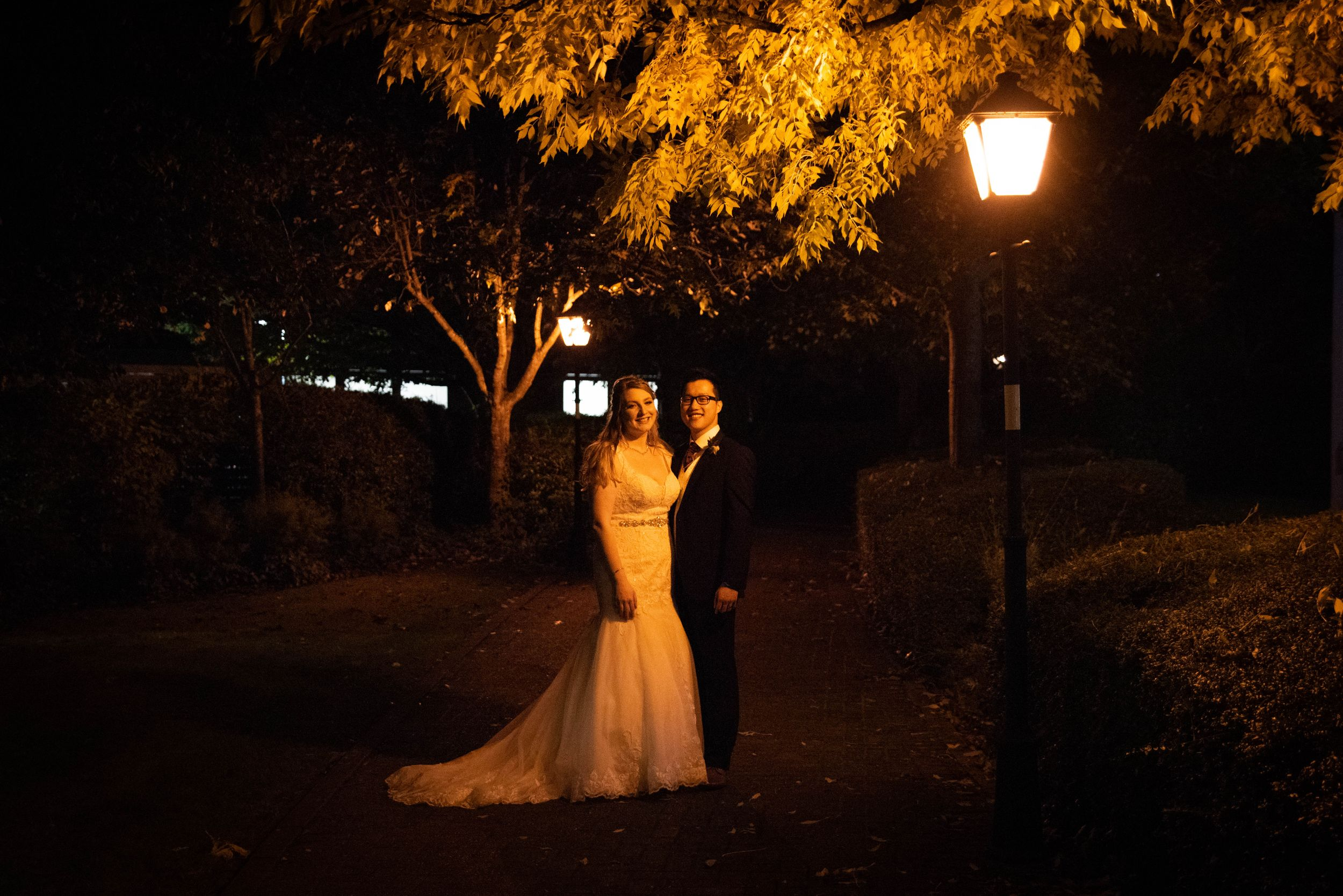 Zara Davis Wedding Photography Aztec West Hotel Bristol Avon Gloucestershire Cotswolds nighttime bride and groom