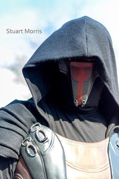 head and shoulders shot of a cosplayer dressed as darth revan from star wars