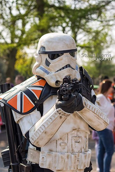 sandtrooper from star wars cosplayer at stars and cars charity event