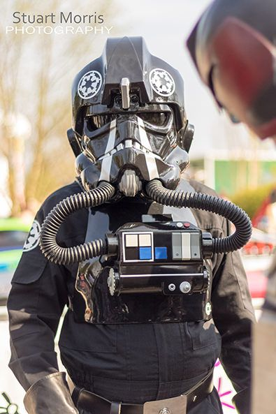 cosplayer dressed as tie fighter pilot at stars and cars charity event for derian house