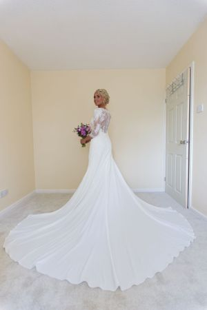 incredibly beautiful bride before her wedding at De Courceys Manor