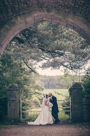 bride and groom at Ewenny Priory wedding