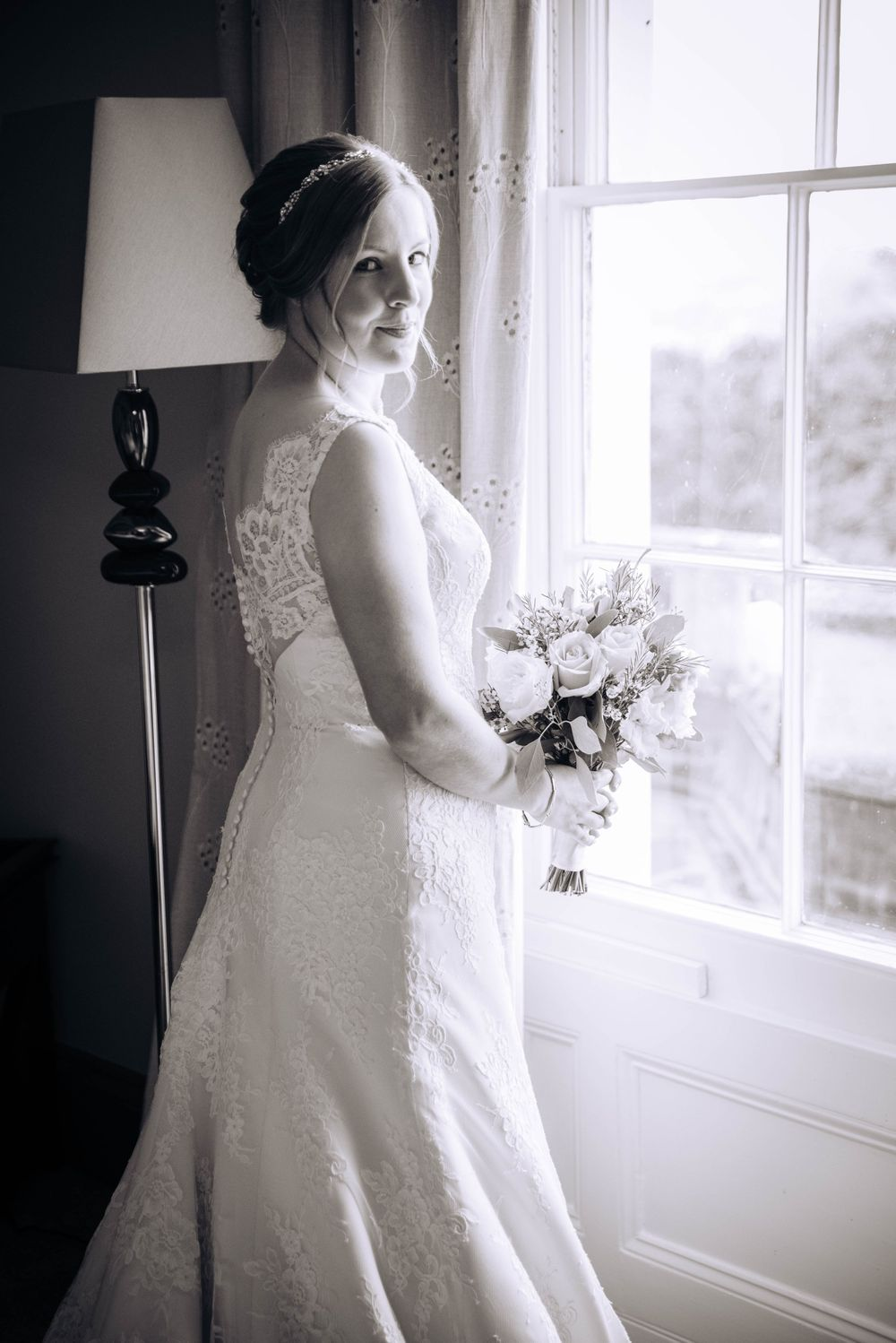 Zara Davis Wedding Photography Near Stroud, Gloucestershire, Cotswolds Glenfall House bridal portrait black and white