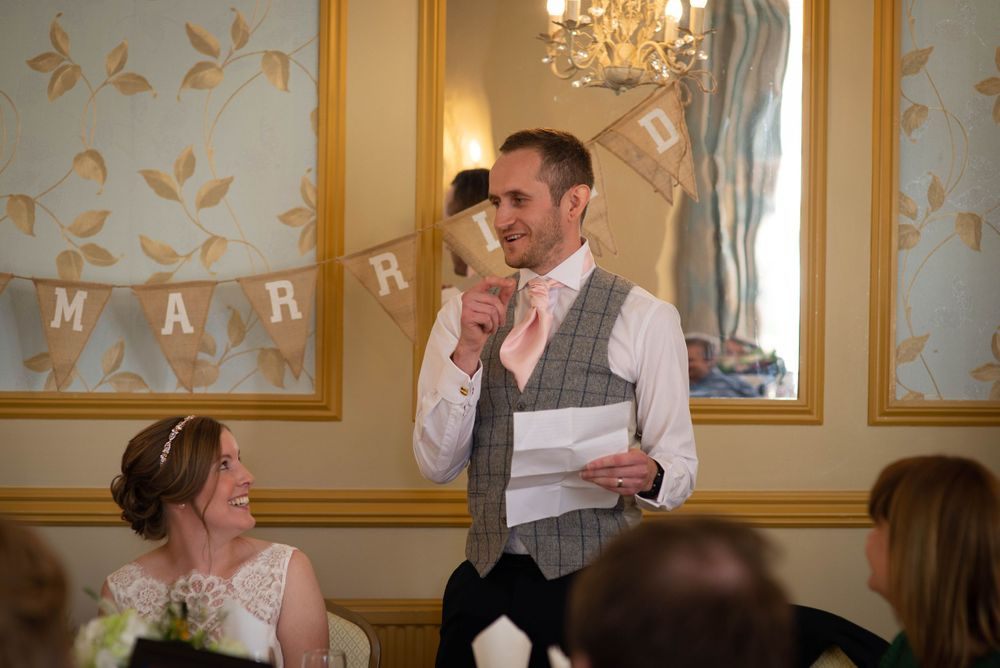 Zara Davis Wedding Photography Near Stroud, Gloucestershire, Cotswolds Glenfall House groom speech