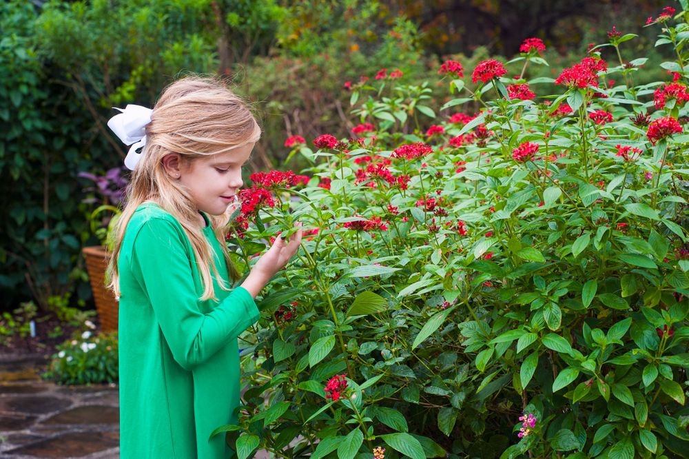 red haired girl smelling red flowers