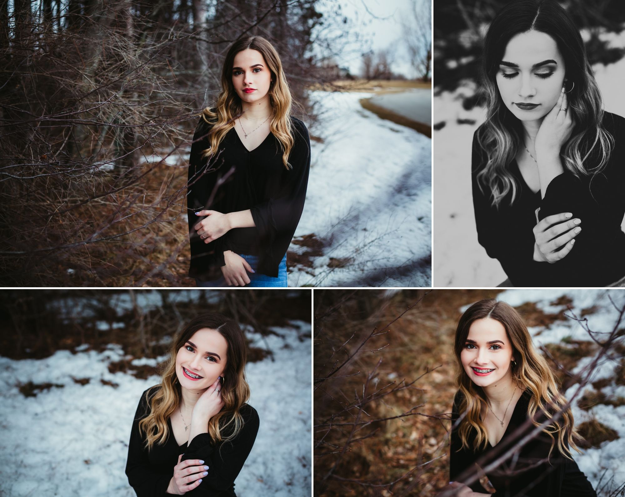 Photos of high school senior girl posing in front of branches and snow.