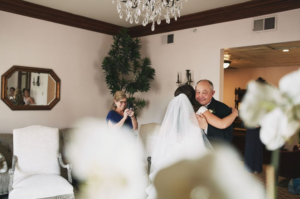 bride's first look with her father before her wedding