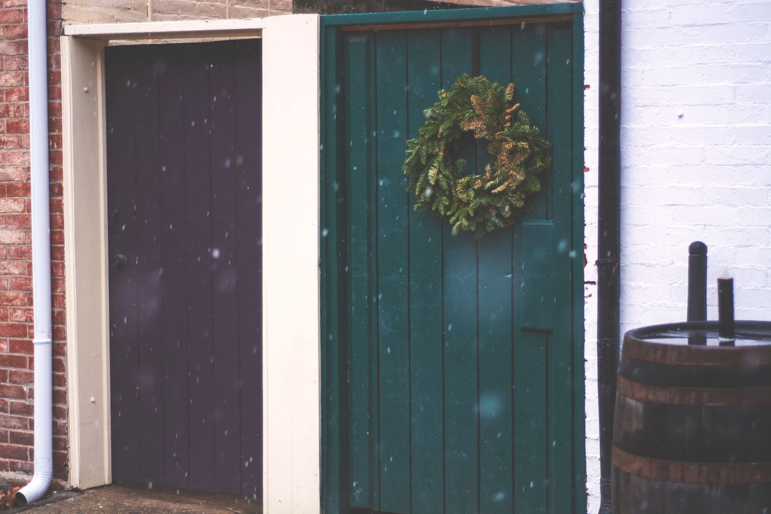 Wooden doors are decorated for Christmas.
