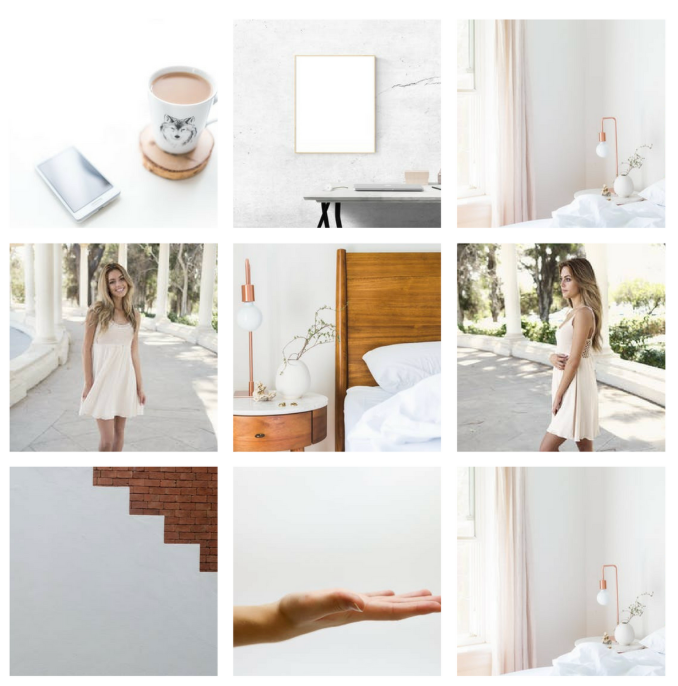 Instagram grid with clean white aesthetic